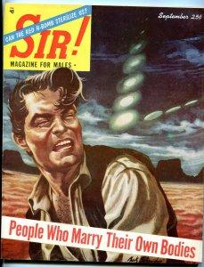 Sir! Magazine September 1954-UFOS-H-BOMBS-LUCKY LUCIANO-CHEESECAKE