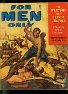 For Men Only Pulp Magazine April 1955- Komoto Dragon attack cover VG