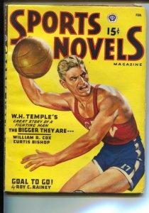 Sports Novels 2/1947-basketball cover-football-boxing-hockey-high grade-VF+
