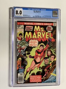 Ms. Marvel 1 cgc 8.0 ow/w pages 1977 Marvel