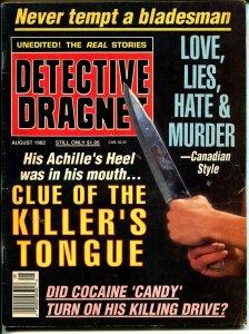 Detective Dragnet 8/1992-Globe-Clue of Killer's Tongue-murder-knife-VG