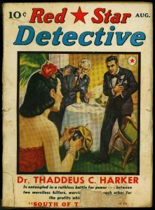 RED STAR DETECTIVE 1940 AUG-PULP-GUNMOLL COVER VG-