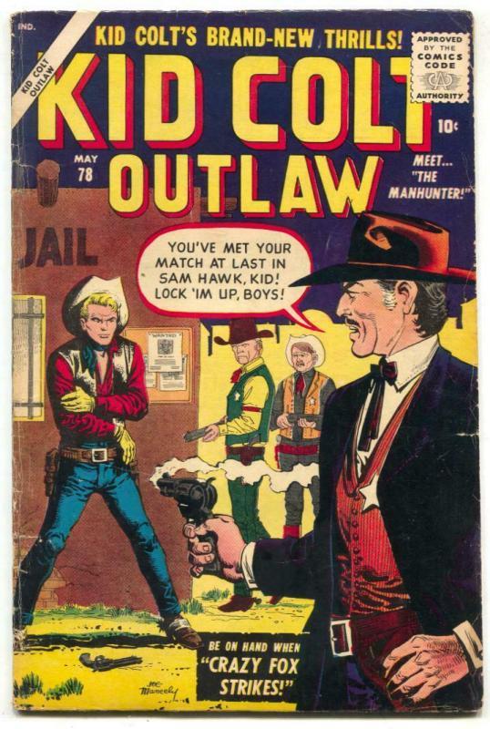 Kid Colt Outlaw #78 1958- 1st SAM HAWK- Atlas Western VG