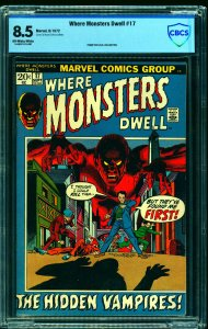 Where Monsters Dwell #17 CBCS VF+ 8.5 Off White to White
