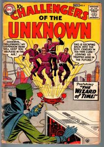 CHALLENGERS OF THE UNKNOWN #4-JACK KIRBY-WALLY WOOD-DC-SCI FI 1958-good minus