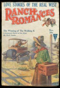 RANCH ROMANCES NOV 1926-WESTERN PULP--HE-MEN vs HYMEN VG+