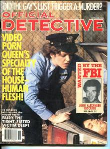 Official Detective 11/1985- body in trunk-violent pulp thrills-porn queen-VG