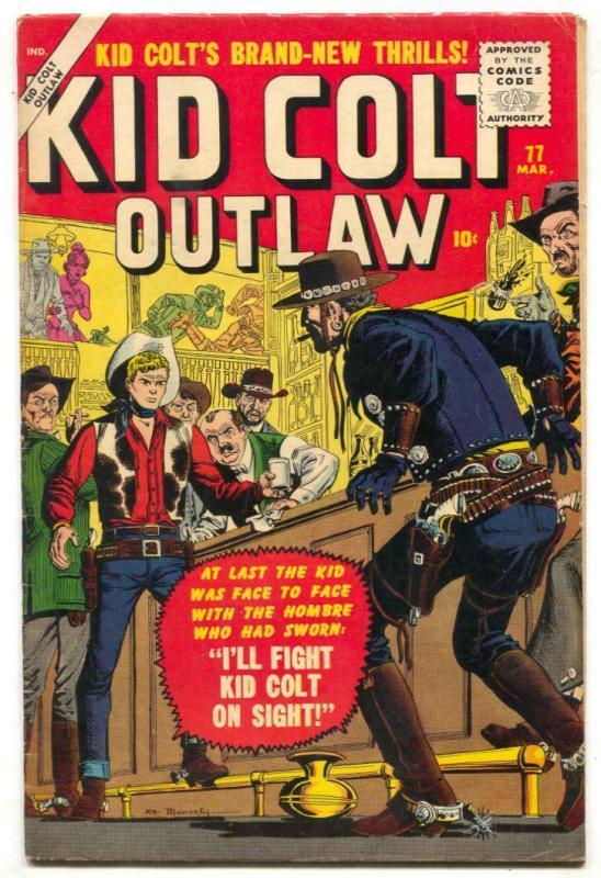 Kid Colt Outlaw #77 1958- Joe Maneely cover- Atlas Western FN