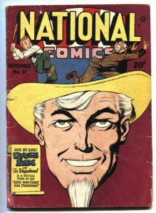 National  #37 1943-Quality-Uncle Sam-WWII era superheroes-racial caricature G/VG