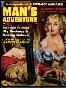 Man's Adventure Pulp Magazine Feburary 1959- bound blonde-eaten by maggots!