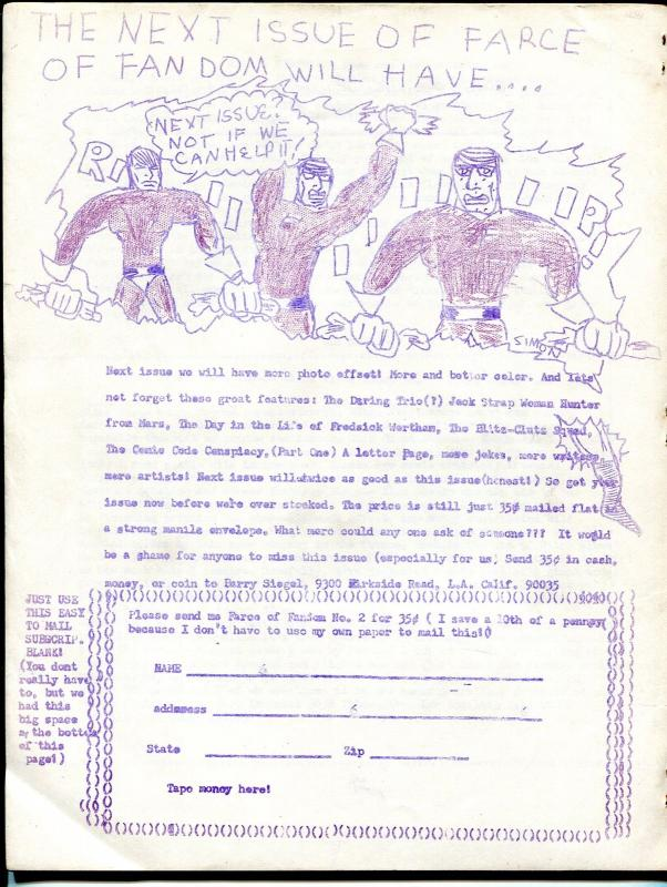 Farce of Fandom #1 1968-1st issue-Stan Lee strip-mimeo type publication-FN