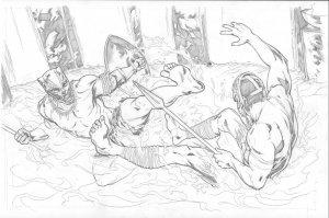 Black Panther vs M'Baku Original Pencil Art Steve Kurth MARVEL MOVIE 11x17