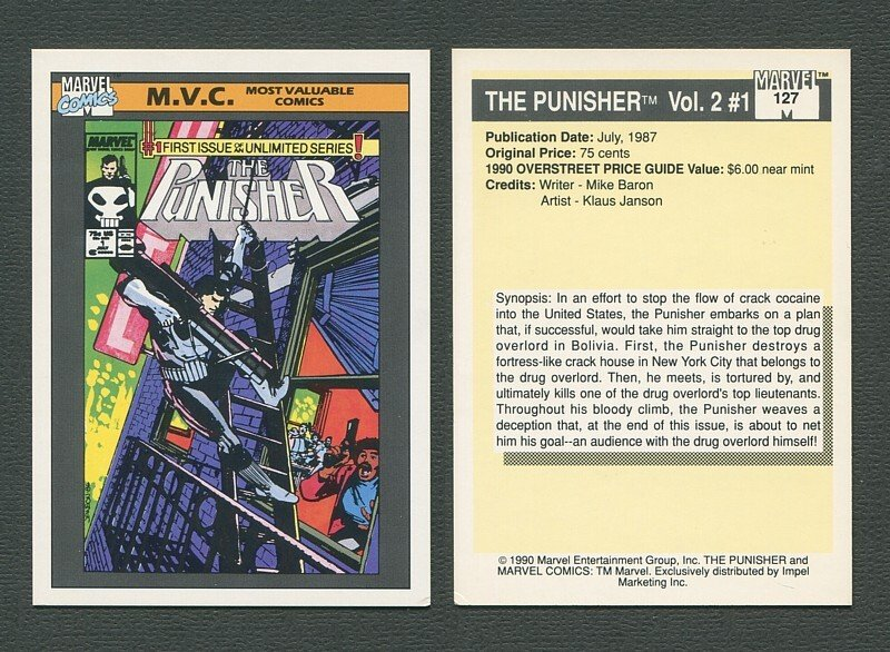 1990 Marvel Comics Card  #127 (Punisher #1 Cover) / NM-MT