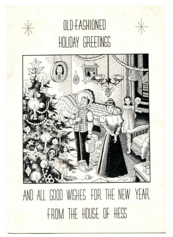 Erwin L Hess Holiday Greetings Card- 1952- comic artist