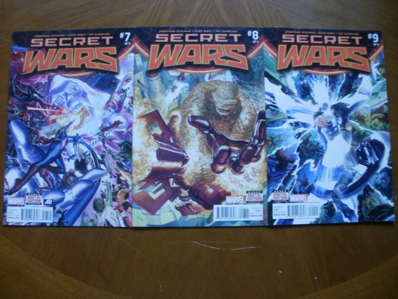 3 Near-Mint Marvel SECRET WARS #7 #8 #9 (2016) Hickman Ribic (Battleworld Doom)