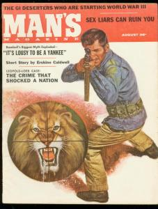 MAN'S MAGAZINE AUG 1957-LION COVER-ERSKINE CALDWELL FN