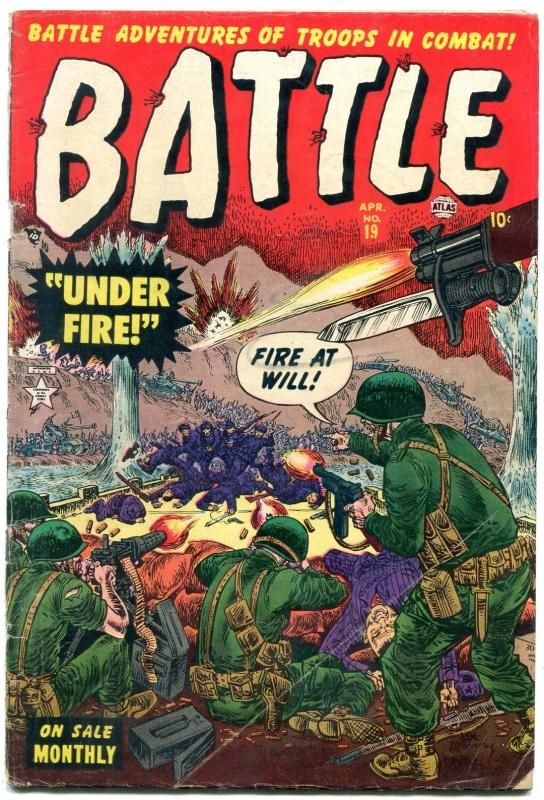 Battle #19 1953- Atlas War comic- Korean War- Maneely cover VG-