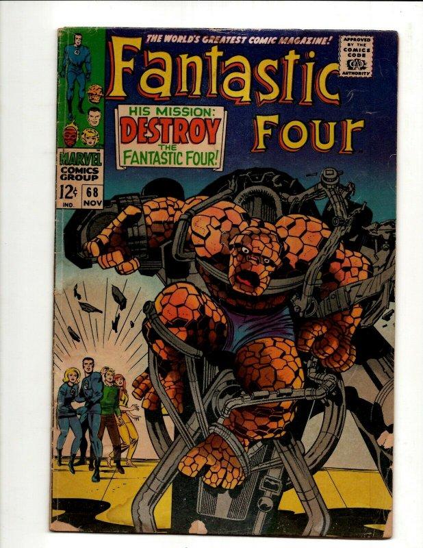 Fantastic Four # 68 VG Marvel Comic Book Thing Human Torch Dr. Doom BJ1