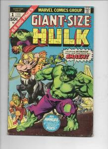 HULK #1 Giant Size, VG, Bruce Banner, Incredible, 1975, more Marvel in store
