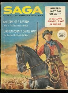 SAGA PULP-AUG 1960-BEATNIK-CATTLE WAR-STAN BORACK COVER VG
