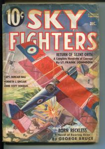 SKY FIGHTERS 12/1936-AIR WAR PULP-THRILLS-WWI-BI-PLANE-good