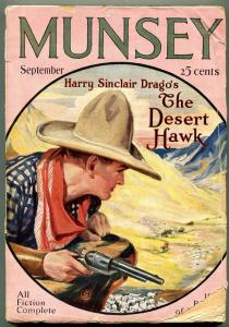 Munsey Pulp Magazine September 1927- The Desert Hawk- Great cowboy cover VG-