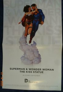 SUPERMAN AND WONDER WOMAN THE KISS STATUE Promo Poster, 11 x 17, 2013, DC Unused