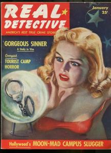 REAL DETECTIVE JAN 1940--CRYSTAL BALL COVER-SPICY TRUE CRIME--MAGAZINE FN