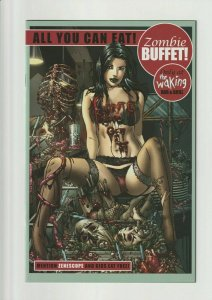 GFT THE WAKING SET OF TWO COVERS #1 ZENESCOPE EXCLUSIVE AND #3 ZOMBIE BUFFET.