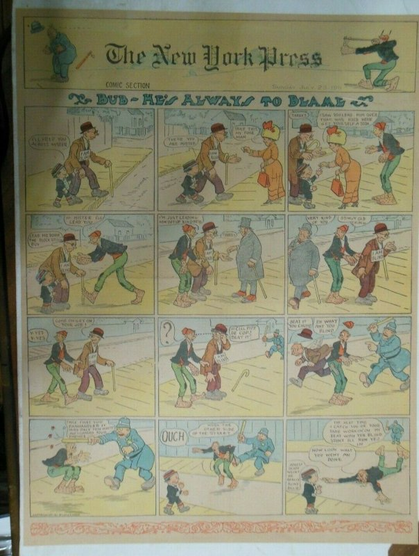 Bud He's Always to Blame Sunday Page by Lowry from 7/23/1911 Full Page Size!