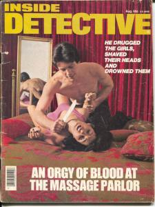 Inside Detective 8/1976-drugged women-violent crime-murder scene-VG