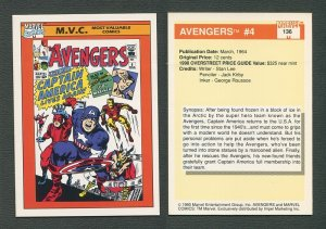 1990 Marvel Comics Card  #136 (Avengers #4 Cover) / NM-MT
