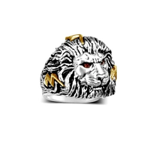 X-LARGE African LION Head Mens lightning bolt ring Sterling Silver Ruby