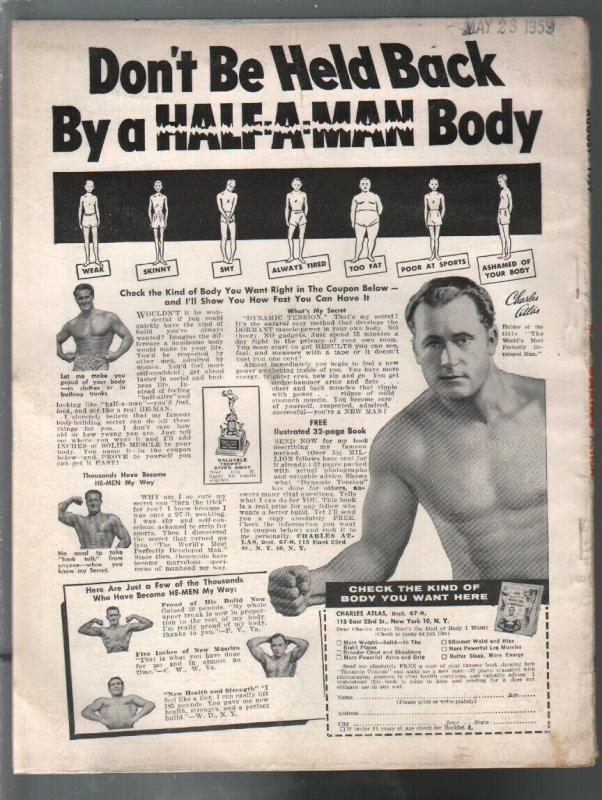 Man's Daring Action 8/1959-Candar-Betty Brosner cheesecake pix-Baboon Harem-VG