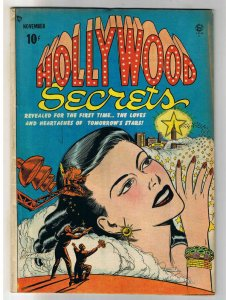 HOLLYWOOD SECRETS #1, VG+, Bill Ward, 1949, Golden Age, Pre-code