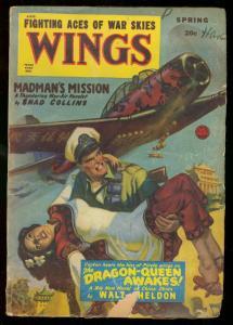 WINGS SPRING 1950 FICTION HOUSE DRAGON PLANE  GIRL CVR G+