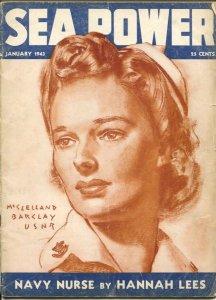 Sea Power 1/1943-McClelland Barclay cover art-war pix &info-rare-VG