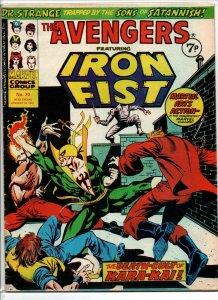 Avengers #70 - Iron Fist - Marvel UK - Magazine Size - 7p - 1975 - FN