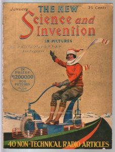 Science & Invention 1/1924-Frank R Paul art-Gold Tone-H V Brown-FN