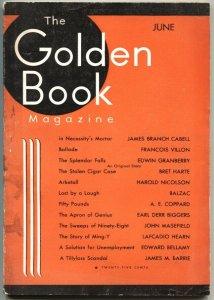 GOLDEN BOOK-JUNE 1933-EARL DERR BIGGERS-JOHN MASEFIELD--PULP FICTION-ART