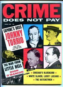 CRIME DOES NOT PAY-MARCH 1969-CAPONE-BLUEBEARD-HATCHETMAN-WHITE SLAVER FN