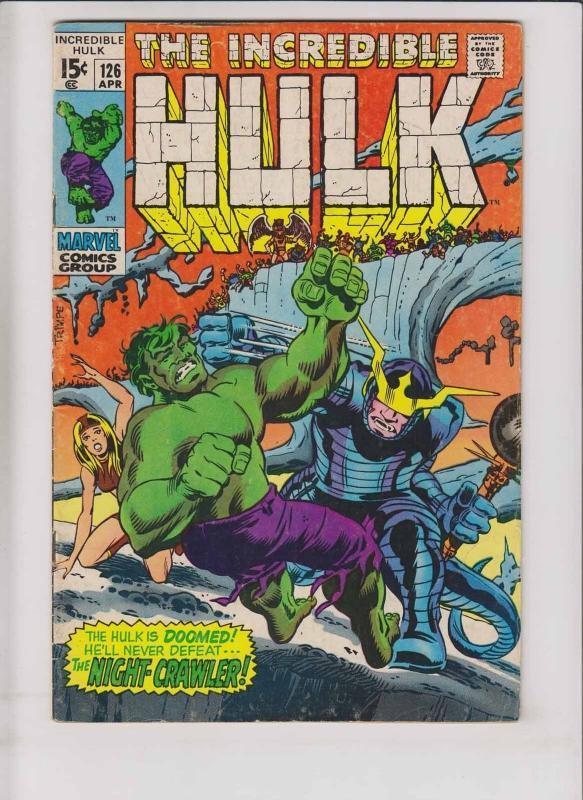 Incredible Hulk #126 FN- roy thomas  1ST VALKYRIE (secret id)  1ST NIGHT-CRAWLER