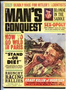 Man's Conquest 10/1965-Paris-Hitler-WWII-cheesecake-VG