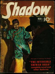 The Shadow Pulp March 1 1940- Invincible Shiwan Khan G/VG