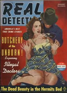 REAL DETECTIVE JAN 1941-WEIRD MENACE-CHAINED UP BABE-UNBORN BUTCHERY-MAGAZINE VG