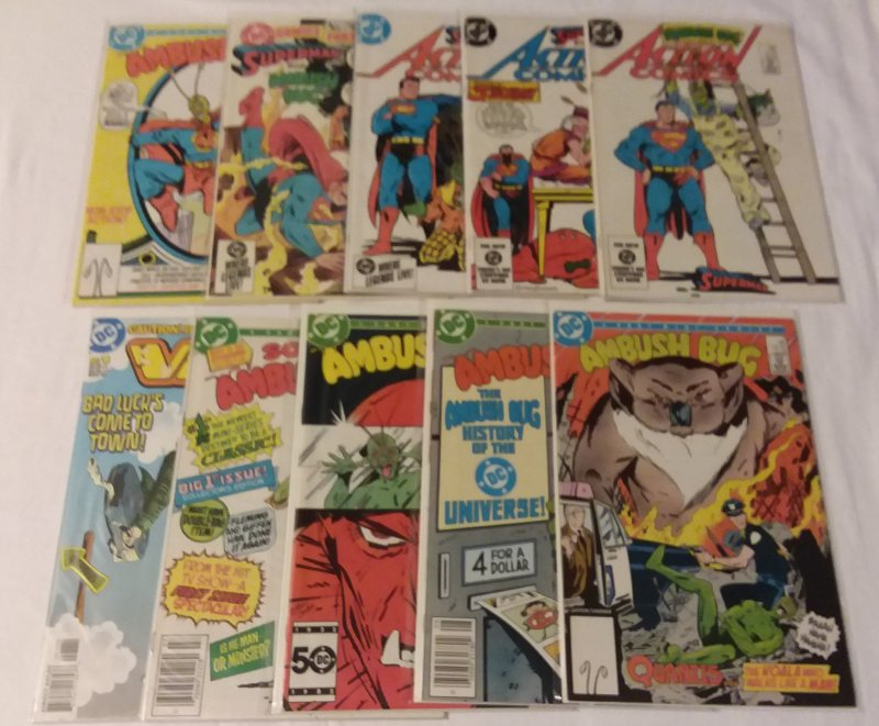 Ambush Bug #1-4, Action Comics #560,563,565, DC Comics Presents #81+ (set of 10)