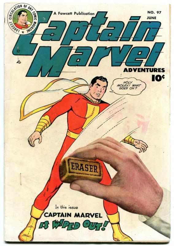 Captain Marvel Adventures #97 1949- wild eraser wiped out cover