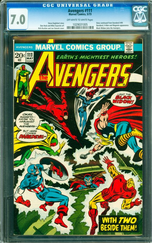 Avengers #111 CGC Graded 7.0 Story continues from Daredevil #99 Daredevil, X-...