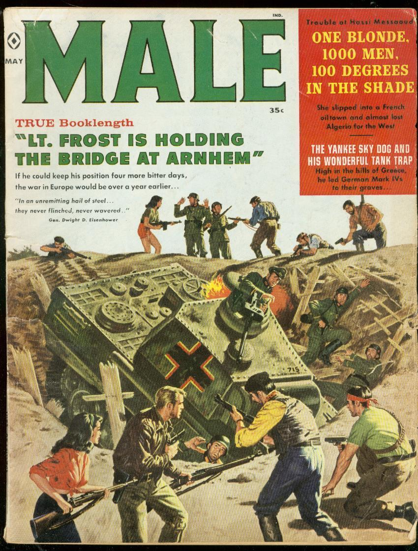 MALE MAY 1960-WILD TANK COVER-FRENCH OIL TOWN-BAMA ART VG- / HipComic