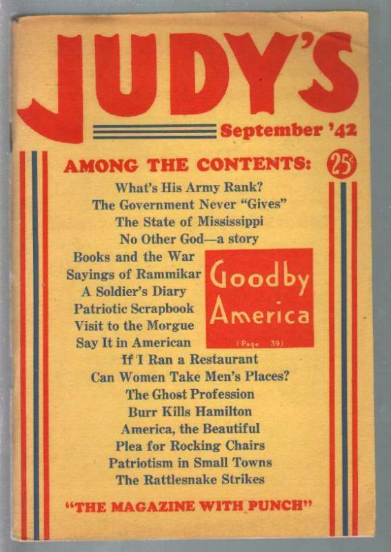 Judy's #1 9/1942-Magazine With Punch-WWII issue-1st issue-VF
